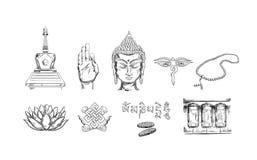 Colección de los iconos del budismo ilustración del vector