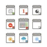 Colección de los iconos del calendario del color libre illustration
