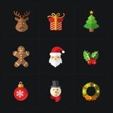 Colección de los iconos del color de la Navidad - ejemplo del vector Foto de archivo