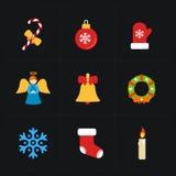 Colección de los iconos del color de la Navidad - vector ilustración del vector
