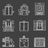 Colección de los iconos del contorno de diversos tipos puertas Imagen de archivo