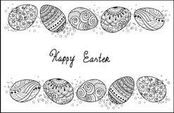 Colección de los iconos del huevo de Pascua en estilo del garabato Ilustración drenada mano Imagen de archivo libre de regalías