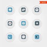 Colección de los iconos del interfaz del color Foto de archivo