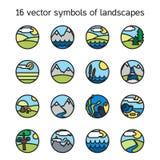 Colección de los iconos del paisaje Símbolos de la naturaleza Imágenes de archivo libres de regalías