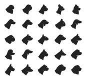 Colección de los iconos del perro del vector aislada en blanco Foto de archivo