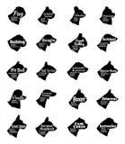 Colección de los iconos del perro del vector en blanco Nombres de las razas de los perros Imagen de archivo
