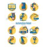 Colección de los iconos del robot industrial stock de ilustración