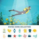Colección de los iconos del salto stock de ilustración
