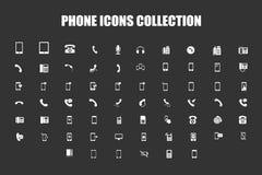 Colección de los iconos del teléfono Fotos de archivo
