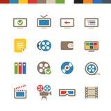 Colección de los iconos del web del cine Imágenes de archivo libres de regalías