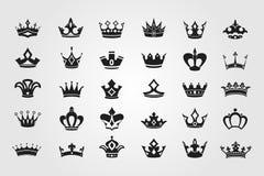 Colección de los iconos de la corona Imagen de archivo