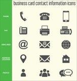 Colección de los iconos de la información de contacto de la tarjeta de visita imágenes de archivo libres de regalías