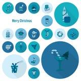Colección de los iconos de la Navidad y del invierno ilustración del vector