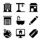 Colección de los iconos de Real Estate stock de ilustración