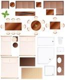 Colección de los muebles del plan de suelo stock de ilustración