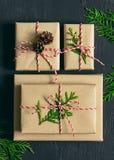 Colección de los presentes de la Navidad o del Año Nuevo Imagenes de archivo