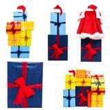 Colección de los rectángulos de regalo de la Navidad Fotos de archivo