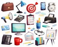 Colección de los símbolos de los accesorios de la oficina de negocios Fotos de archivo libres de regalías