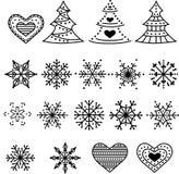 Colección de los símbolos de la Navidad aislada en el fondo blanco stock de ilustración