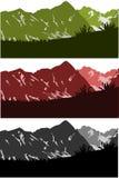 Colección de los silouettes de las montañas Foto de archivo libre de regalías