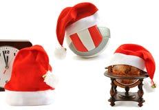 Colección de los sombreros de Papá Noel en blanco Fotografía de archivo
