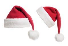 Colección de los sombreros o de los casquillos de Santa aislada Foto de archivo libre de regalías