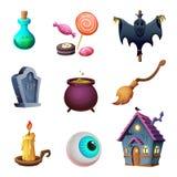 Colección de los symbos de Halloween Diseño de iconos del vector Estilo de la historieta Imagen de archivo