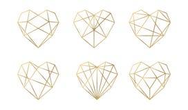 Colección de lujo del vector de corazones poligonales Sistema del vector