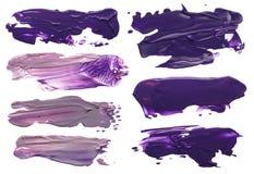 Colección de manchas blancas /negras de acrílico abstractas de los movimientos del cepillo Foto de archivo