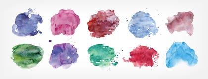 Colección de manchas pintadas a mano con la acuarela aislada en el fondo blanco Paquete de manchas blancas /negras de la pintura  libre illustration