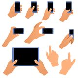 Colección de manos que sostienen el teléfono y la tableta Imágenes de archivo libres de regalías