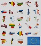 Colección de mapas y banderas de los países de la unión europea ilustración del vector