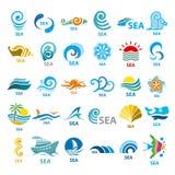 Colección de mar de los logotipos del vector Fotografía de archivo