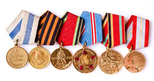 Colección de medallas (soviéticas) rusas Foto de archivo