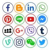Colección de medios iconos redondos sociales populares libre illustration