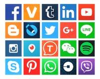 Colección de 20 medios iconos sociales cuadrados populares
