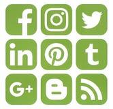 Colección de medios iconos sociales populares en color del verdor Foto de archivo