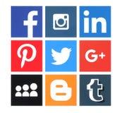 Colección de medios logotipos sociales populares stock de ilustración