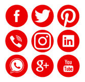 Colección de medios logotipos sociales populares Imagenes de archivo