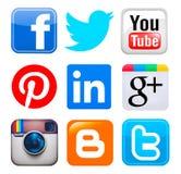Colección de medios logotipos sociales populares Fotografía de archivo libre de regalías