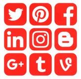 Colección de medios logotipos sociales rojos populares