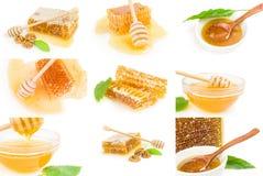 Colección de miel dulce aislada en un recorte blanco del fondo Foto de archivo