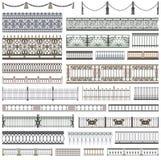 Colección de modelos de la cerca y de elementos decorativos del diseño con las fronteras inconsútiles Fotografía de archivo