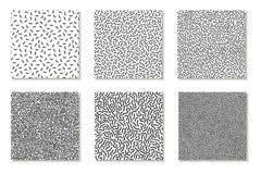 Colección de modelos inconsútiles de Memphis, tarjetas Texturas blancos y negros del mosaico Diseño 80 de la moda - 90s stock de ilustración