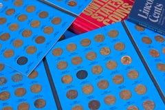 Colección de moneda del penique Fotos de archivo libres de regalías