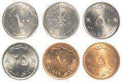 Colección de monedas de omaní Baisa imagen de archivo libre de regalías
