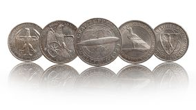 Colección de monedas de plata alemana de Alemania de república de Weimar imagen de archivo libre de regalías