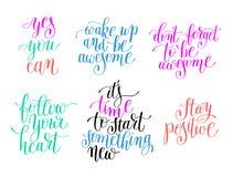 colección de motivación positiva de las citas Imagen de archivo