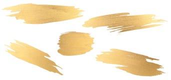 Colección de movimiento del cepillo de la textura de la acuarela del oro fotos de archivo