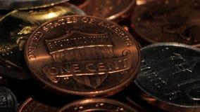 Colección de muchas diversa monedas Cierre para arriba metrajes